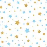 Το διανυσματικό άνευ ραφής σχέδιο τα χρυσά μπλε αστέρια για τα Χριστούγεννα backgound, κλωστοϋφαντουργικό προϊόν ντους μωρών γενε Στοκ φωτογραφία με δικαίωμα ελεύθερης χρήσης