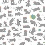 Το διανυσματικό άνευ ραφής σχέδιο της χαριτωμένης γάτας ύφους κινούμενων σχεδίων σε διαφορετικό θέτει ελεύθερη απεικόνιση δικαιώματος