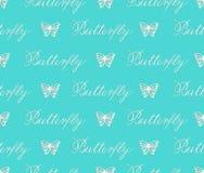 Το διανυσματικό άνευ ραφής σχέδιο του εγγράφου έκοψε τις άσπρες πεταλούδες στο τυρκουάζ υπόβαθρο απεικόνιση αποθεμάτων