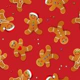 Το διανυσματικό άνευ ραφής υπόβαθρο με το ρεαλιστικό μελόψωμο Χριστουγέννων επανδρώνει, διακοσμημένος με την τήξη ελεύθερη απεικόνιση δικαιώματος