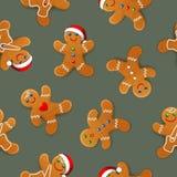 Το διανυσματικό άνευ ραφής υπόβαθρο με το ρεαλιστικό μελόψωμο Χριστουγέννων επανδρώνει, διακοσμημένος με την τήξη διανυσματική απεικόνιση