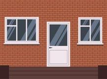 Το διανυσματικό άσπρο πλαστικό έκλεισε τη μπροστινή πόρτα με σκαλοπάτια και δύο παράθυρο τμημάτων κομματιού και δέντρων διανυσματική απεικόνιση