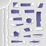 Το διανυσματικό έγγραφο πλήγωσε τη ragged σχισμένη ακρών συλλογή απεικόνισης τρυπών και ύφους τρυπών ρεαλιστική σε χαρτί τρισδιάσ απεικόνιση αποθεμάτων