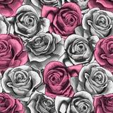 Το διανυσματικό εκλεκτής ποιότητας χέρι που σύρθηκε αυξήθηκε ανθίζοντας άνευ ραφής σχέδιο ανθών λουλουδιών διανυσματική απεικόνιση