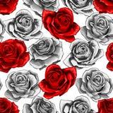 Το διανυσματικό ημίτονο χέρι που σύρθηκε αυξήθηκε ανθίζοντας άνευ ραφής σχέδιο ανθών λουλουδιών ελεύθερη απεικόνιση δικαιώματος