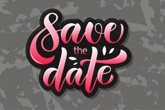 Το διανυσματικό κείμενο καλλιγραφίας σώζει την ημερομηνία για το βιβλίο λουλουδιών φακέλων γαμήλιων διακοσμήσεων πρόσκλησης καρτώ στοκ εικόνες