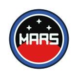 Το διανυσματικό λογότυπο σκιαγραφιών λωρίδων κύκλων του αεροδιαστήματος χαλά το δορυφορικό διαστημικό σταθμό προγράμματος Έμβλημα διανυσματική απεικόνιση
