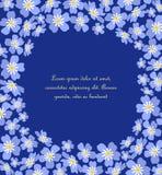 Το διανυσματικό μπλε με ξεχνά όχι λουλούδια Στοκ Εικόνα