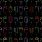 Το διανυσματικό παγωτό Colorfull επαναλαμβάνει το άνευ ραφής σχέδιο Φωτεινά χρώματα στο μαύρο backgound ελεύθερη απεικόνιση δικαιώματος