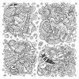 Το διανυσματικό σύνολο κινούμενων σχεδίων doodles κλασσικών μουσικών οργάνων αντιτίθεται συνδυασμοί Στοκ φωτογραφία με δικαίωμα ελεύθερης χρήσης