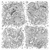 Το διανυσματικό σύνολο κινούμενων σχεδίων doodles μουσικής disco αντιτίθεται συνδυασμοί Στοκ Εικόνα