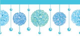 Το διανυσματικό σύνολο μπλε εγγράφου Pom Poms γιορτής γενεθλίων αγοριών κόλπων και οι χάντρες καθορισμένες οριζόντιο άνευ ραφής ε Στοκ Εικόνες