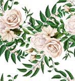 Το διανυσματικό watercolor αυξήθηκε άνευ ραφής σχέδιο ανθοδεσμών απεικόνιση αποθεμάτων