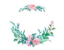 Το διανυσματικό watercolor εκλεκτής ποιότητας αυξήθηκε γαμήλια κάρτα λουλουδιών απεικόνιση αποθεμάτων