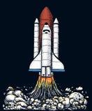 Το διαστημικό λεωφορείο απογειώνεται αστρονομική εξερεύνηση αστροναυτών χαραγμένο χέρι που σύρεται στο παλαιό σκίτσο, εκλεκτής πο απεικόνιση αποθεμάτων