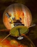Το διαστημικό σκάφος επάνω από τον πλανήτη και το φεγγάρι Δία διανυσματική απεικόνιση