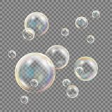 Το διαφανές σαπούνι βράζει διάνυσμα Ζωηρόχρωμες μειωμένες φυσαλίδες σαπουνιών απεικόνιση ελεύθερη απεικόνιση δικαιώματος
