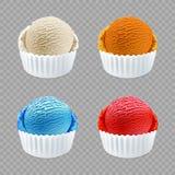 Το διαφορετικό παγωτό γεύσης εκσκάπτει την πλάγια όψη σχετικά με το διαφανές διάνυσμα υποβάθρου Στοκ Φωτογραφία