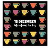 Το διεθνές επίπεδο ημέρας τσαγιού βάζει τη σύγχρονη απεικόνιση φλυτζανιών τσαγιού χρωμάτων Διανυσματική απεικόνιση