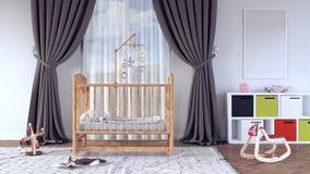 Το δωμάτιο παιδιών ` s με το λίκνο για το μωρό τρισδιάστατο δίνει Στοκ Φωτογραφία