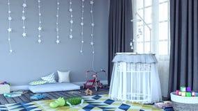 Το δωμάτιο παιδιών ` s με το λίκνο για το μωρό τρισδιάστατο δίνει Στοκ Εικόνα