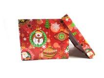 το δώρο κιβωτίων απομόνωσε το λευκό Ένα δώρο για διακοπές Μια έκπληξη, ένα ευχάριστο γεγονός, ένα νέο έτος, ευτυχία, χαρά Στοκ Εικόνες