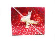το δώρο κιβωτίων απομόνωσε το λευκό Ένα δώρο για διακοπές Μια έκπληξη, ένα ευχάριστο γεγονός, ένα νέο έτος, ευτυχία, χαρά Στοκ Εικόνα