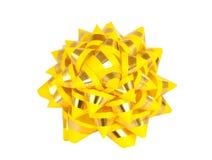 το δώρο τόξων απομόνωσε κίτρινο Στοκ Φωτογραφίες