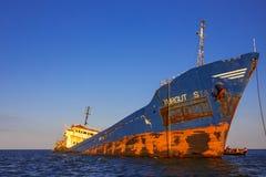 Το εγκαταλειμμένο σκάφος στο δέλτα Δούναβη Στοκ Εικόνες