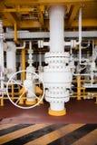 Το εγχειρίδιο βαλβίδων λειτουργεί στην πλατφόρμα πετρελαίου και φυσικού αερίου Διαδικασία παραγωγής Στοκ εικόνα με δικαίωμα ελεύθερης χρήσης