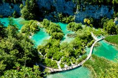 Το εθνικό πάρκο λιμνών Plitvice στην Κροατία Στοκ Εικόνες