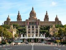 Το εθνικό παλάτι στο Plaza της Ισπανίας στη Βαρκελώνη Στοκ Εικόνες