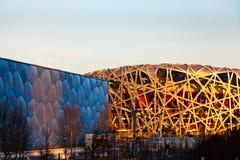 το εθνικό στάδιο του Πεκίνου και το εθνικό κέντρο Aquatics Στοκ Φωτογραφία