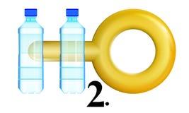 Το εικονίδιο έννοιας, καθαρό νερό θα αξίζει το βάρος του στο χρυσό, δύο μπουκάλια H2O λογότυπο r διανυσματική απεικόνιση