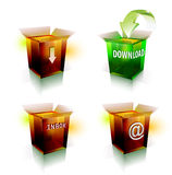 Το εικονίδιο Διαδικτύου για μεταφορτώνει και ηλεκτρονικό ταχυδρομείο Στοκ Εικόνα