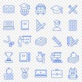 το εικονίδιο εκπαίδευσης ανασκόπησης απομόνωσε το καθορισμένο λευκό Πακέτο 25 διανυσματικό εικονιδίων ελεύθερη απεικόνιση δικαιώματος