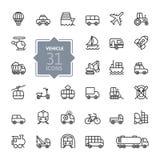 Το εικονίδιο Ιστού στοιχείων μεταφορών, οχημάτων και παράδοσης έθεσε - σύνολο εικονιδίων περιλήψεων Στοκ εικόνα με δικαίωμα ελεύθερης χρήσης