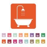 Το εικονίδιο ντους Σύμβολο λουτρών επίπεδος Στοκ φωτογραφίες με δικαίωμα ελεύθερης χρήσης