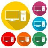 Το εικονίδιο υπολογιστών γραφείου ή το λογότυπο, εγχώριος υπολογιστής γραφείου προσωπικός, χρώμα θέτει με τη μακριά σκιά διανυσματική απεικόνιση