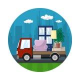 Το εικονίδιο, φορτηγό μεταφέρει τα έπιπλα απεικόνιση αποθεμάτων