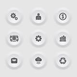 Το εικονίδιο χρηματοδότησης και επιχειρήσεων έθεσε στο πλαίσιο κουμπιών. Στοκ Εικόνες