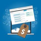 Το εικονίδιο lap-top απεικόνισης αγγελιών τιμών αποδείξεων Ιστού υπηρεσιών on-line διαφημίσεων τιμολόγησης λογισμικού με το σύννε Στοκ Εικόνα