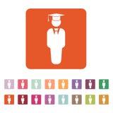Το εικονίδιο αγοριών σπουδαστών Σχολείο και ακαδημία, κολλέγιο, σύμβολο εκπαίδευσης επίπεδος ελεύθερη απεικόνιση δικαιώματος