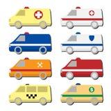 Το εικονίδιο αυτοκινήτων έθεσε: ασθενοφόρο, αστυνομία, πυροσβεστικό όχημα, ταξί, όχημα υπηρεσιών Στοκ φωτογραφίες με δικαίωμα ελεύθερης χρήσης