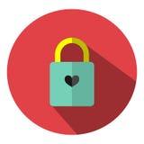 Το εικονίδιο είναι κλειδωμένο πράσινο κλειδί κλειδαριών στον κόκκινο κύκλο Μπορέστε να χρησιμοποιηθείτε στους διάφορους στόχους Στοκ εικόνα με δικαίωμα ελεύθερης χρήσης