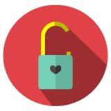 Το εικονίδιο είναι ξεκλειδωμένη κλειδαριά η βασική κόκκινη καρδιά Μπορέστε να χρησιμοποιηθείτε στους διάφορους στόχους Στοκ Εικόνες