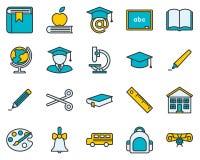 το εικονίδιο εκπαίδευσης ανασκόπησης απομόνωσε το καθορισμένο λευκό διανυσματική απεικόνιση