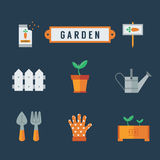 το εικονίδιο κήπων ανασκόπησης απομόνωσε το καθορισμένο λευκό Στοκ εικόνες με δικαίωμα ελεύθερης χρήσης