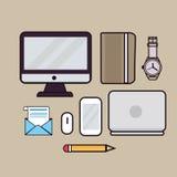 Το εικονίδιο περιλήψεων απεικόνισης τέχνης γραμμών του βιβλίου οργάνων ελέγχου οθόνης lap-top προσέχει το ηλεκτρονικό ταχυδρομείο Στοκ Φωτογραφίες