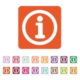 Το εικονίδιο πληροφοριών Πληροφορίες και faq σύμβολο επίπεδος απεικόνιση αποθεμάτων